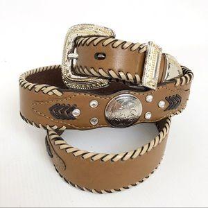 Genuine Leather Silver Medallion Braid Aztec Belt